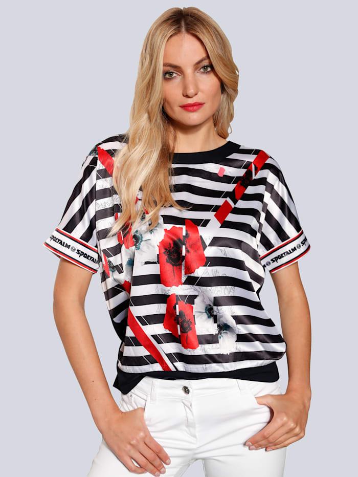 SPORTALM T-Shirt mit Streifen, Dunkelblau