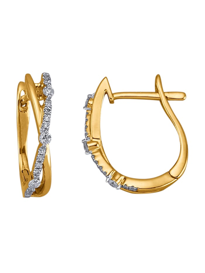 AMY VERMONT Créoles avec diamants, Coloris or jaune