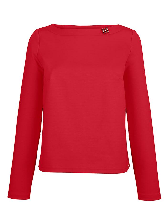 Alba Moda Shirt mit dekorativem Detail am Ausschnitt, Rot