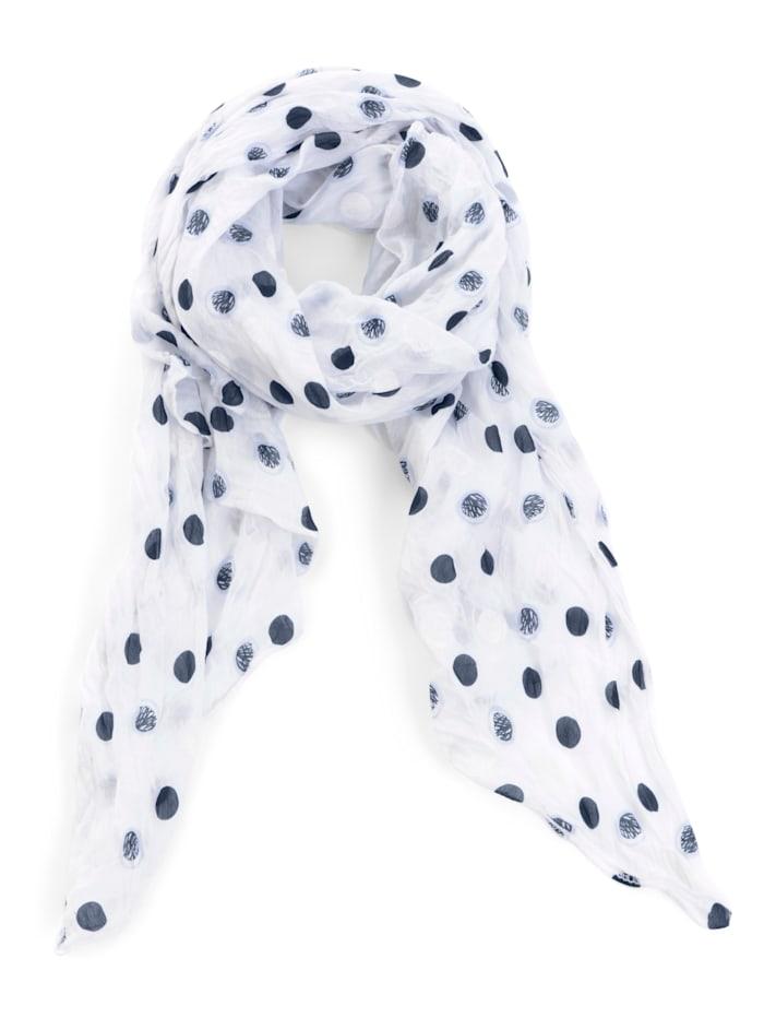 Alba Moda Sjaal met stippendessin, wit/blauw