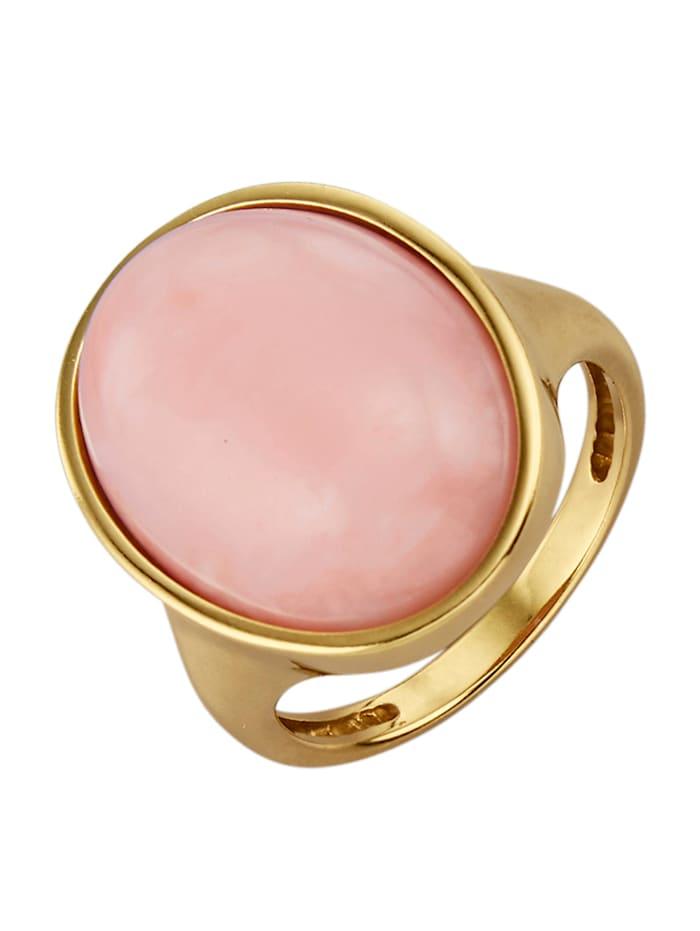 Diemer Farbstein Damenring mit Pinkopal-Cabochon, Rosé