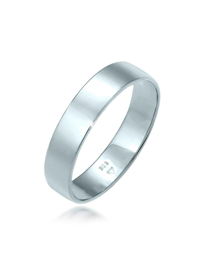 Elli Premium Ring Bandring Trauring Basic 585 Weißgold, Weiß
