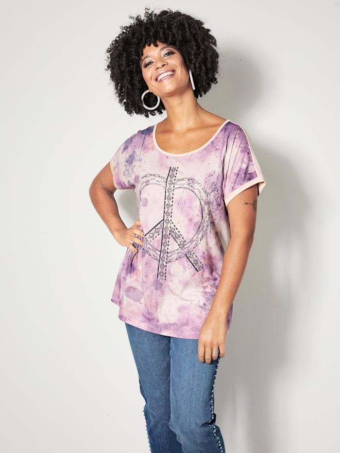 Angel of Style T-shirt avec cœur en paillettes devant, Beige/Parme