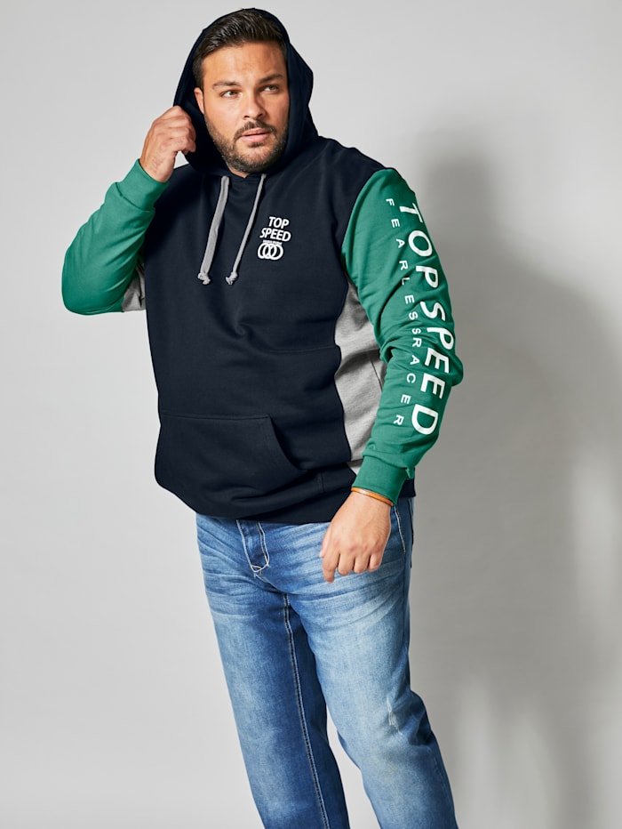 Men Plus Kapuzensweatshirt aus reiner Baumwolle, Marineblau/Grün/Hellgrau