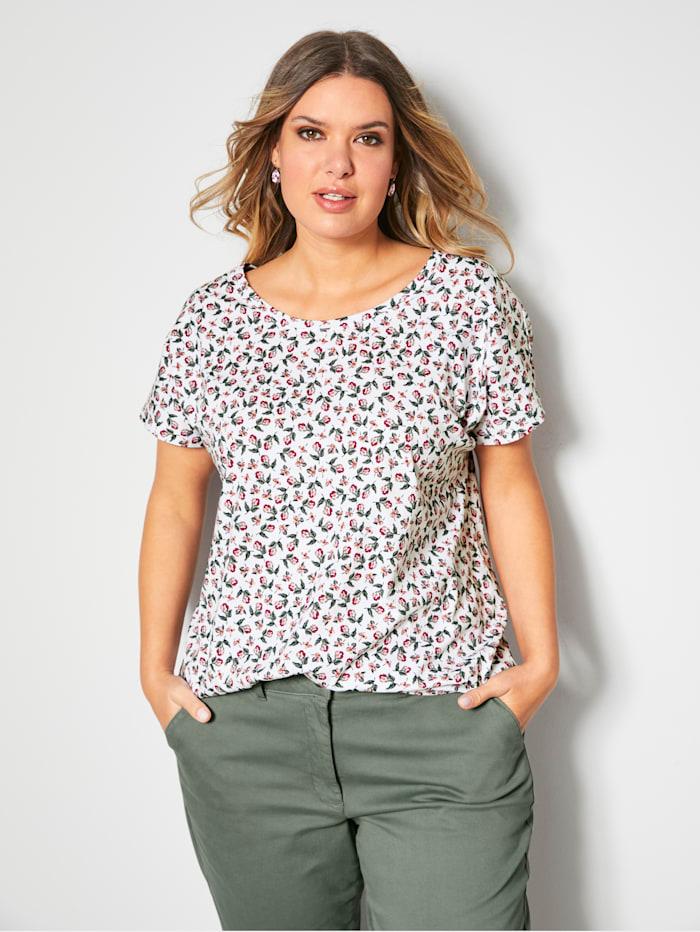 Janet & Joyce Shirt mit floralem Print, Weiß