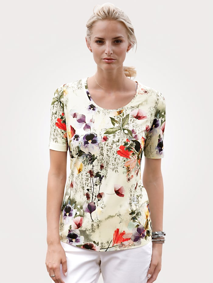 MONA Shirt mit floralem Dessin, Beige/Oliv