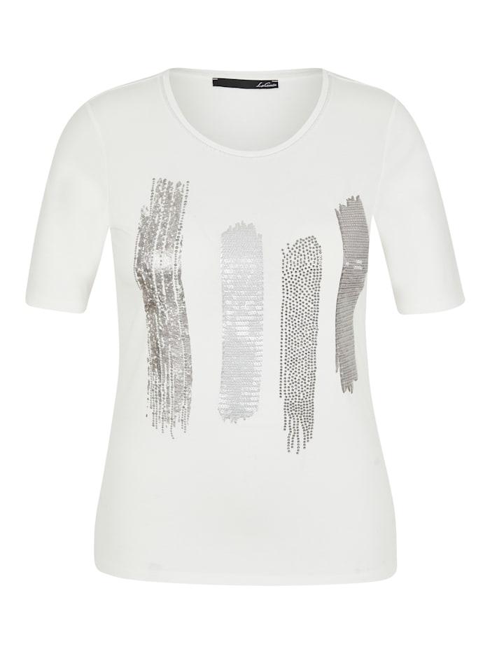 Le Comte Shirt mit Front-Print und Glitzersteinen, NATUR