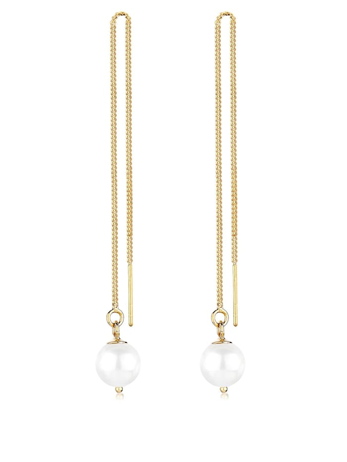 Elli Ohrringe Synthetische Perle 925 Silber, Weiß