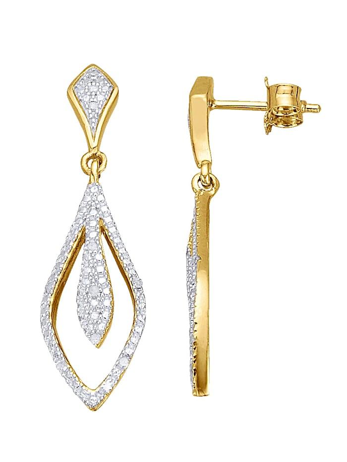 Ohrstecker mit Diamanten, Gelbgoldfarben