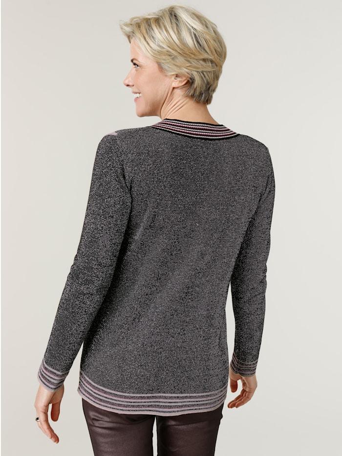 Pullover mit effektvollem metallisiertem Garn