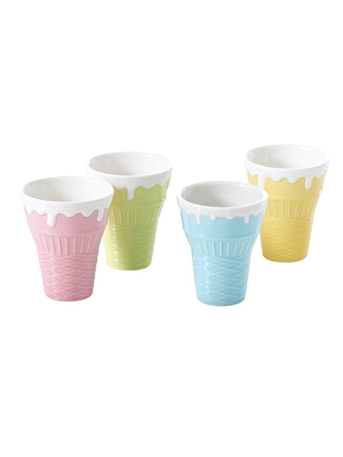4 isbeger i ulike farger, flerfarget