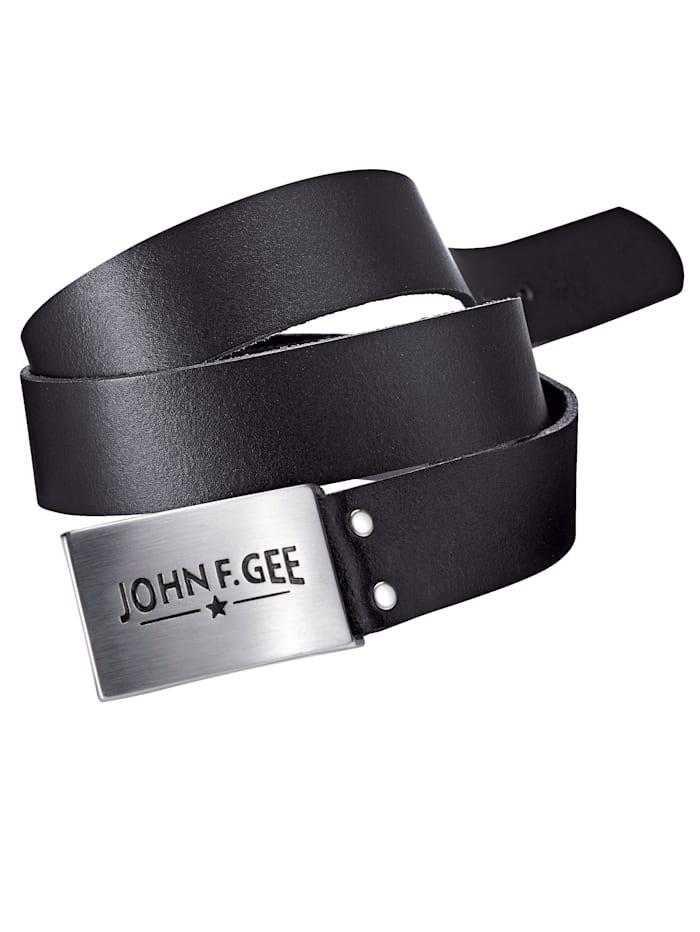 John F. Gee Leren riem met gesp, zwart