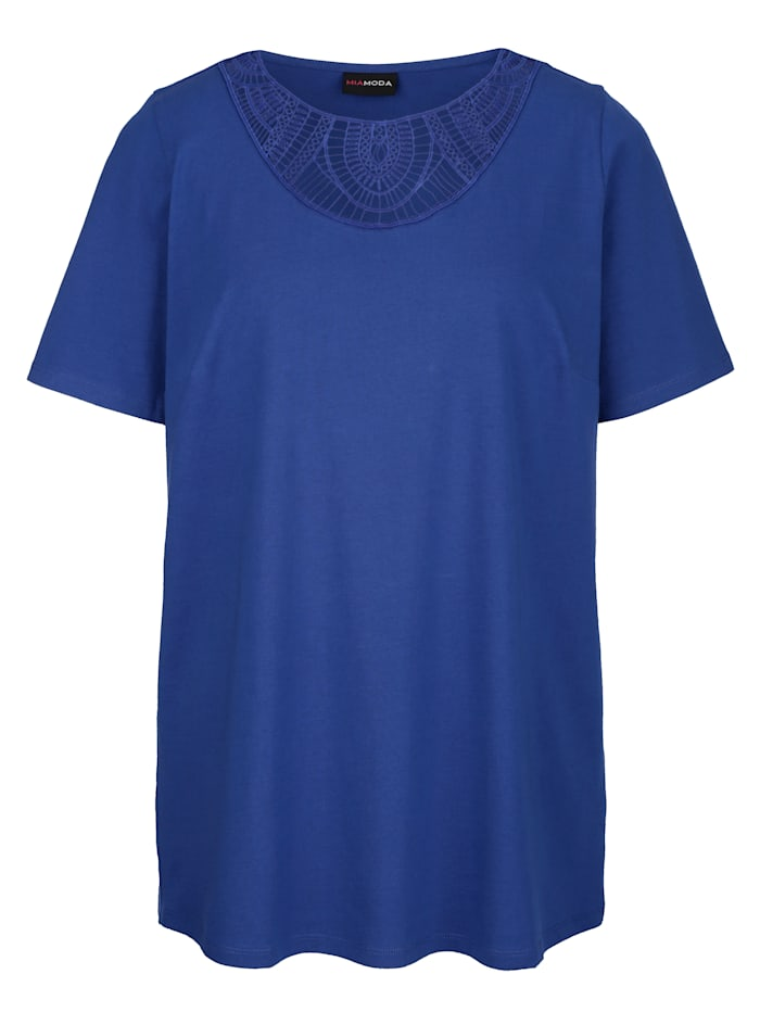 Shirt met transparant kant aan de hals