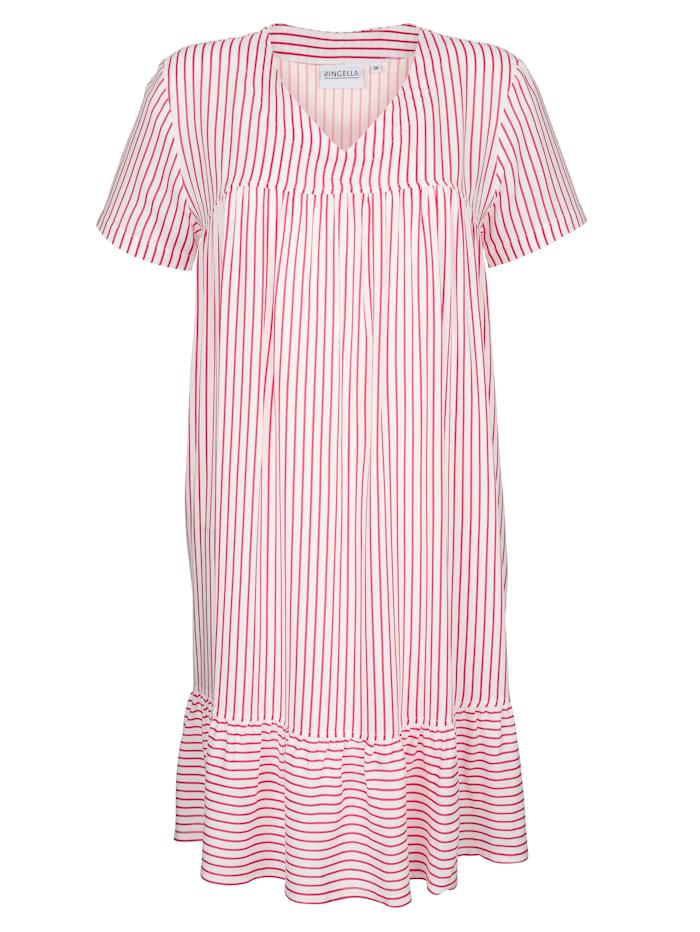Ringella Nachthemd mit süßem Saumvolant, ecru/rot