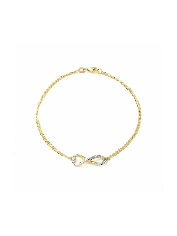 amor Armband für Damen, Gold 375, Infinity, Bicolor