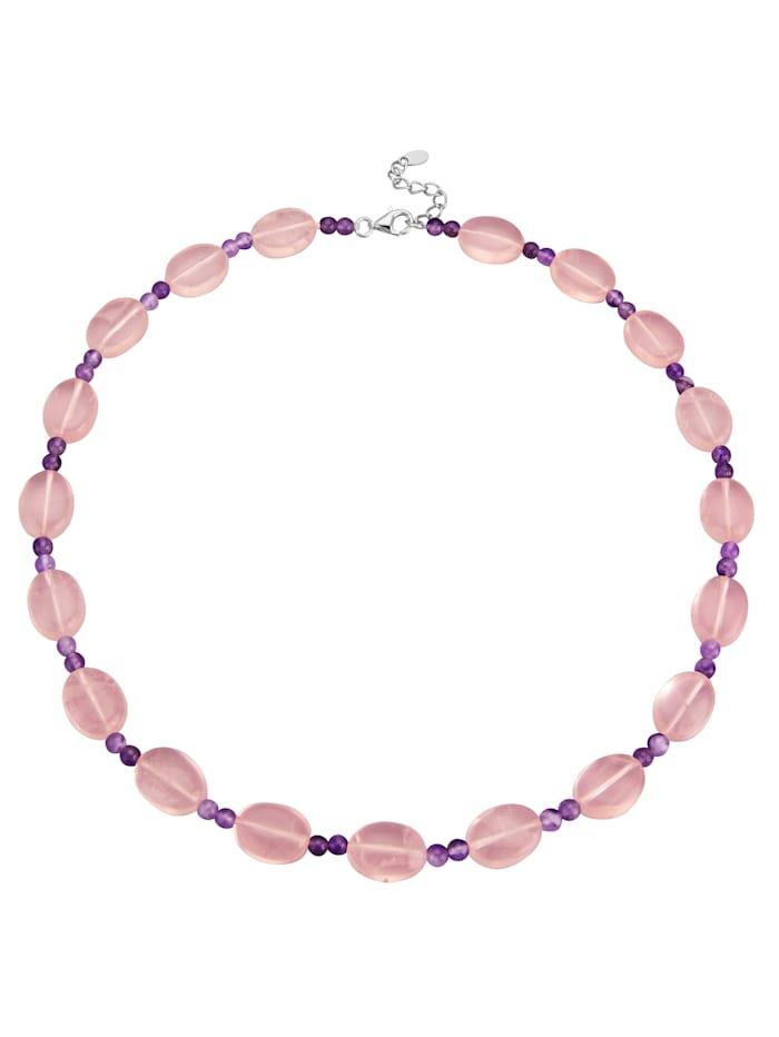 Halskette aus Rosenquarzen und Amethysten, Rosé
