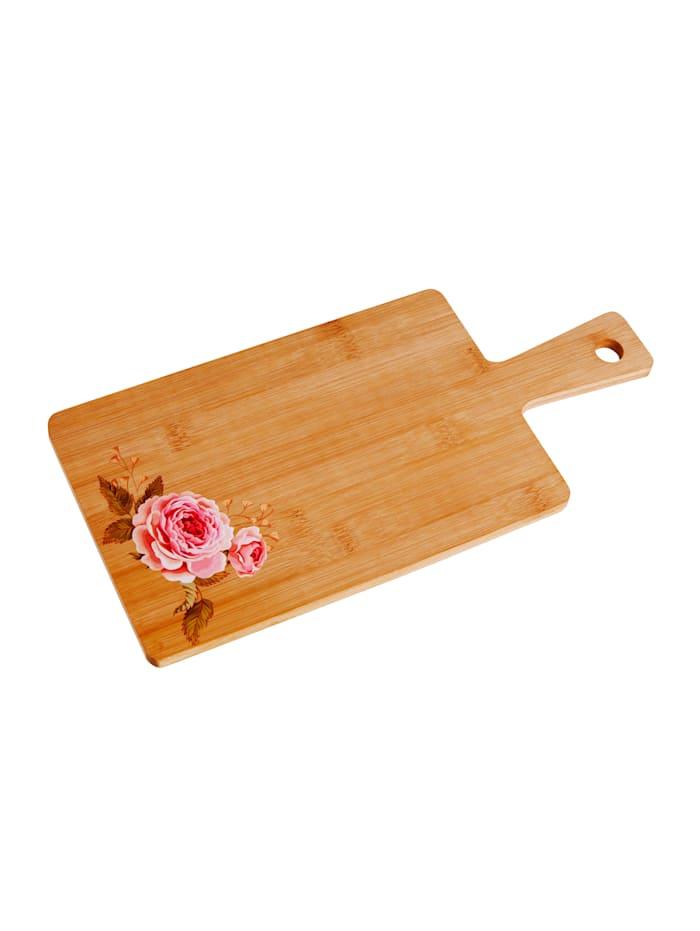 Bambus-Schneidbrett 'Rose', klein, braun