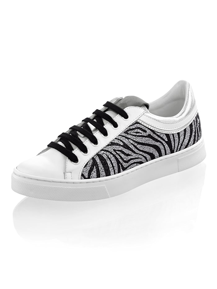 Alba Moda Sneaker in Zebra-Optik, Weiß/Schwarz/Silbergrau