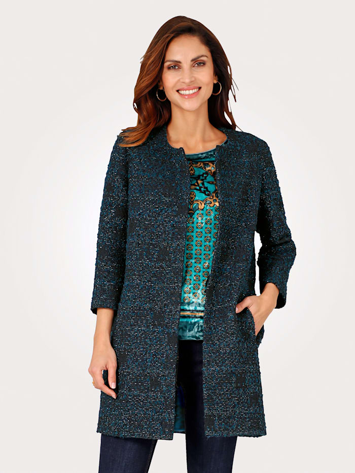 MONA Longline jacket made from bouclé with shimmering thread, Petrol