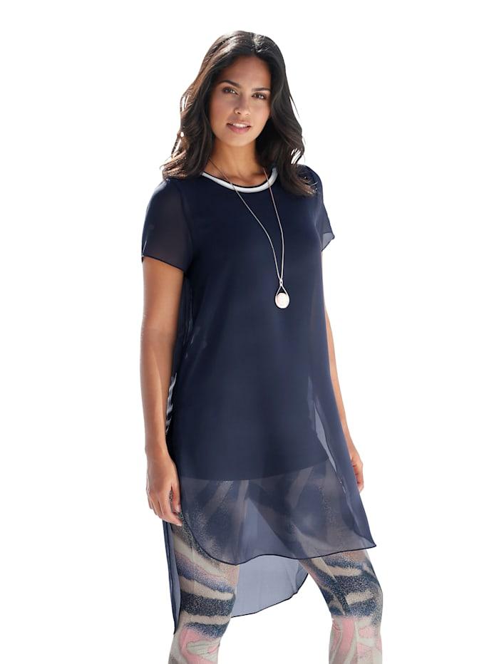 Longshirt aus Chiffon und eingearbeitetem Jerseytop