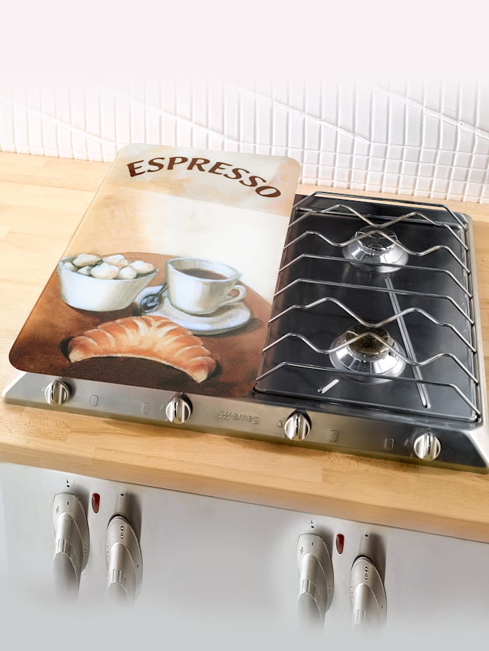 Wenko 2er-Set Herdabdeckplatten Espresso/Cappuccino, Espresso/Cappuccino Dekor