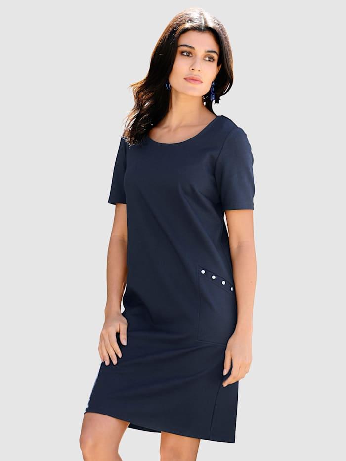 Alba Moda Kjole i elastisk jersey, Marine