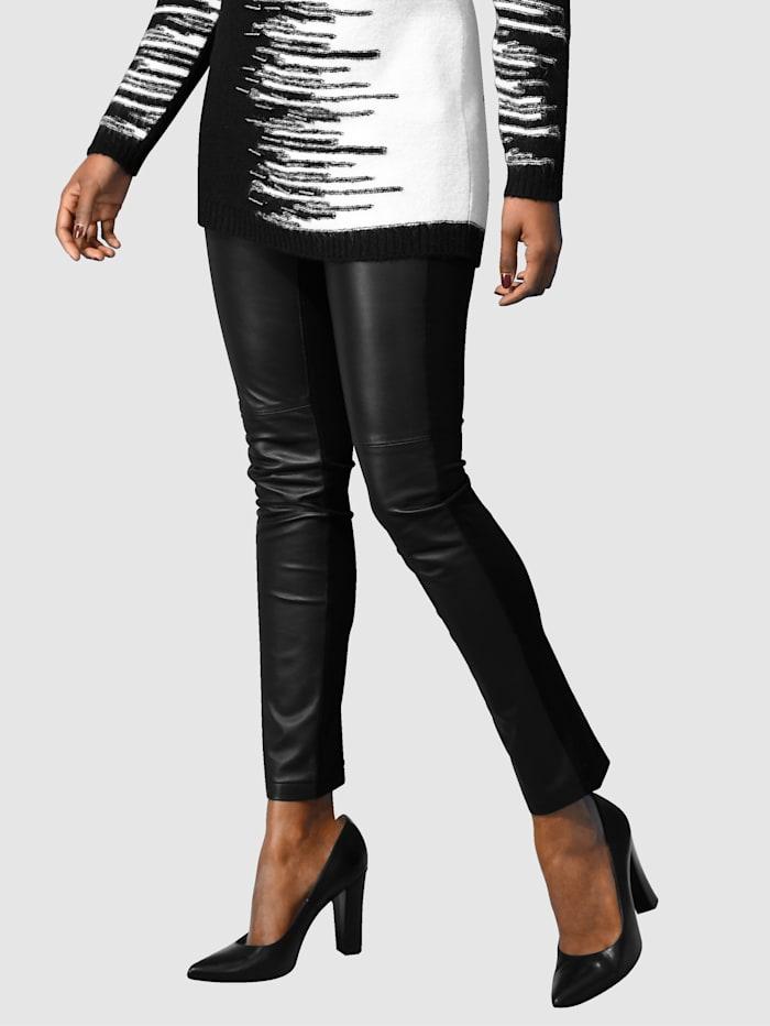 Alba Moda Pantalon cigarette à patch en cuir association de cuir et jersey, Noir