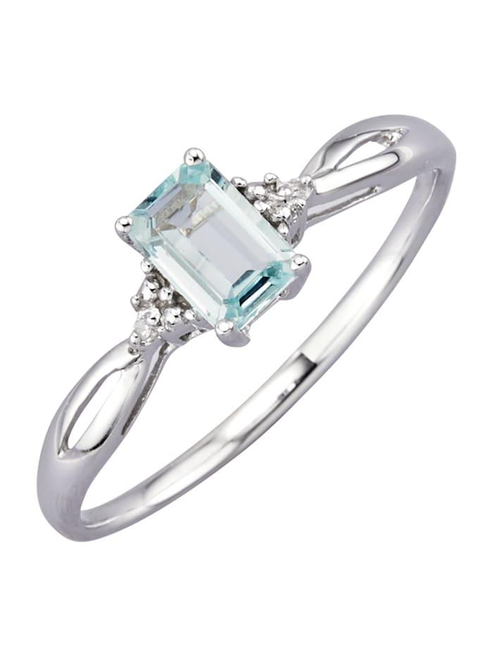 Ring med akvamarin och diamanter, Blå