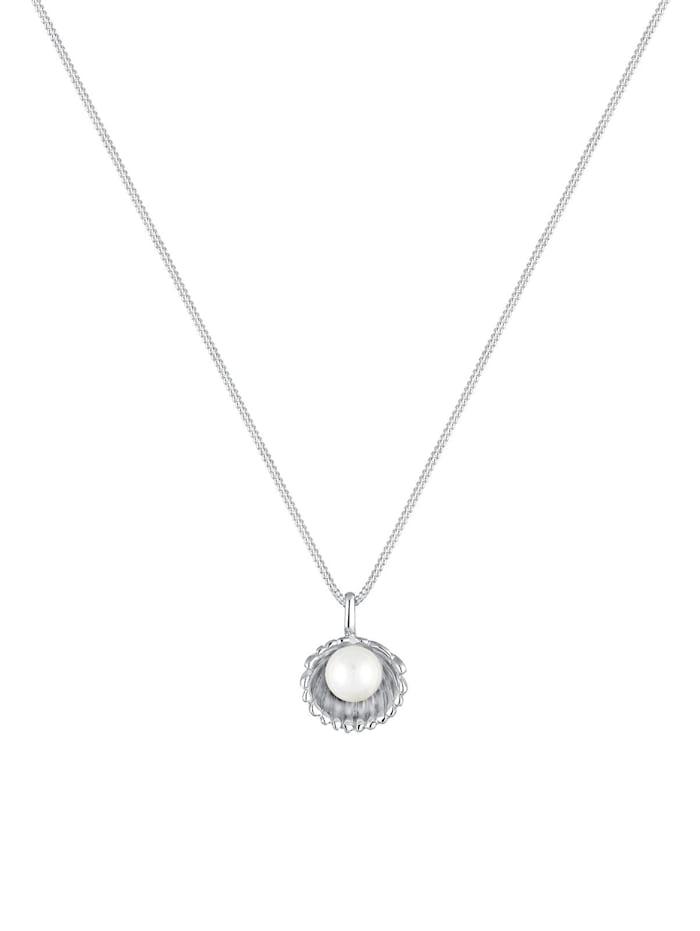 Halskette Muschel Süßwasser-Perlenkugel 925 Sterling Silber