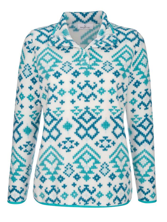 Fleece trui met Noorse print
