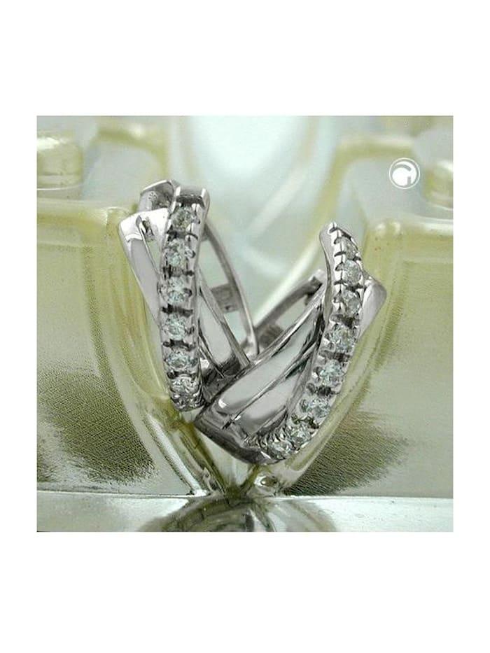 Creole 12,5x5mm Klappscharnier gekreuzt Zirkonias rhodiniert Silber 925