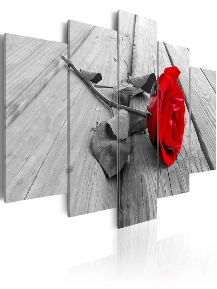 artgeist Wandbild Rose on Wood (5 Parts) Wide Red, Grau,Rot