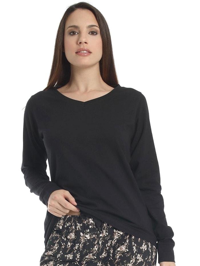 sassa langarm Shirt FLOWERY ASPECT, schwarz