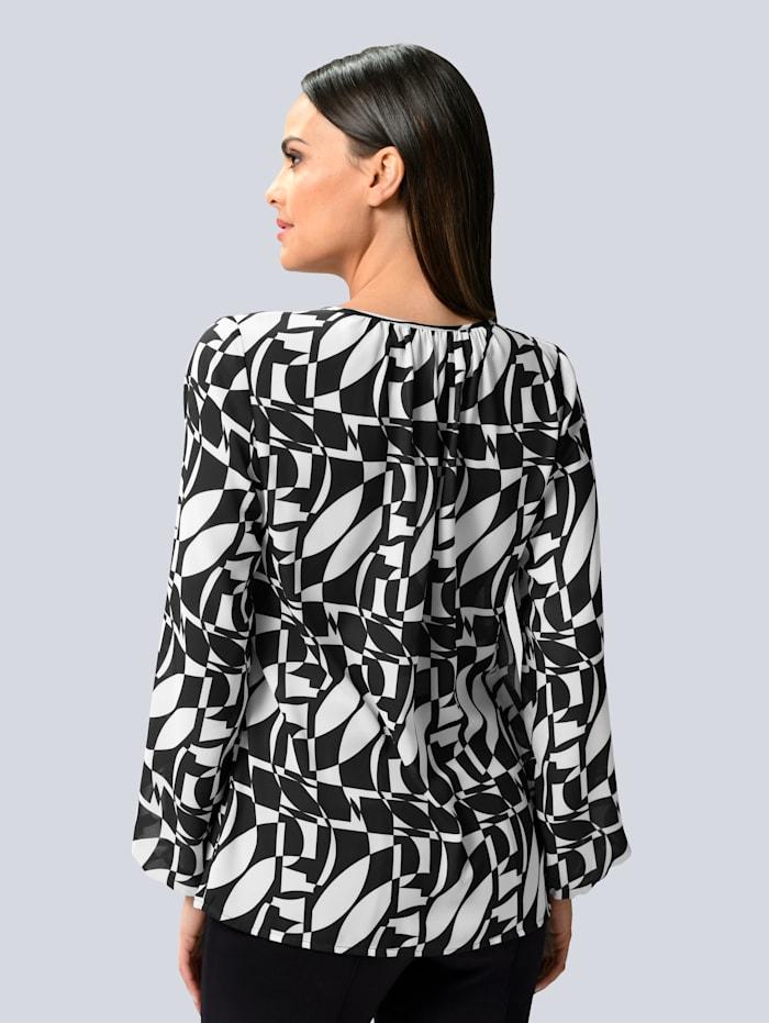 Bluse mit grafischem allover Print