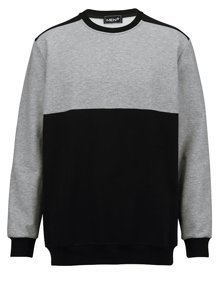 Men Plus Sweatshirt van zuiver katoen, Marine/Grijs