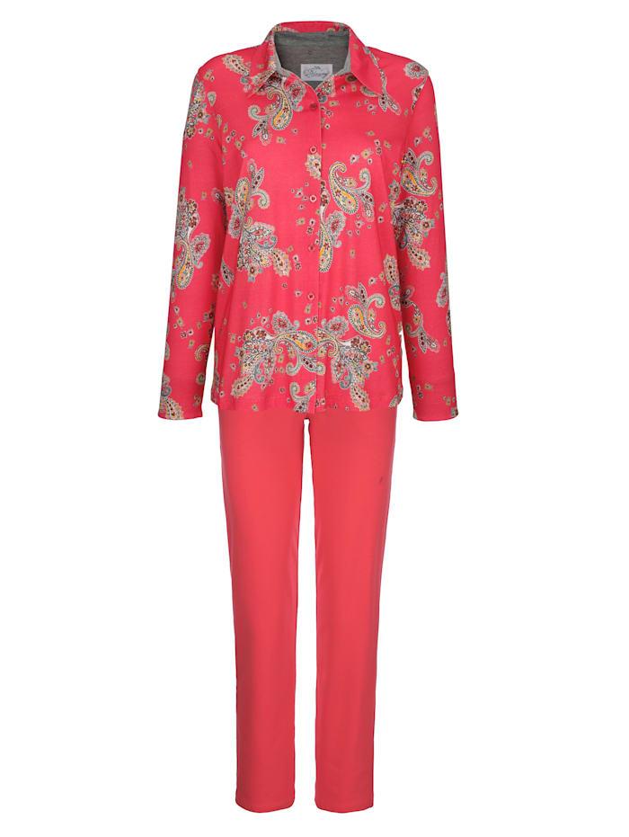 Ringella Bloomy Schlafanzug mit kontrastfarbenem Ärmelaufschlag, Hellrot/Schwarz/Grau