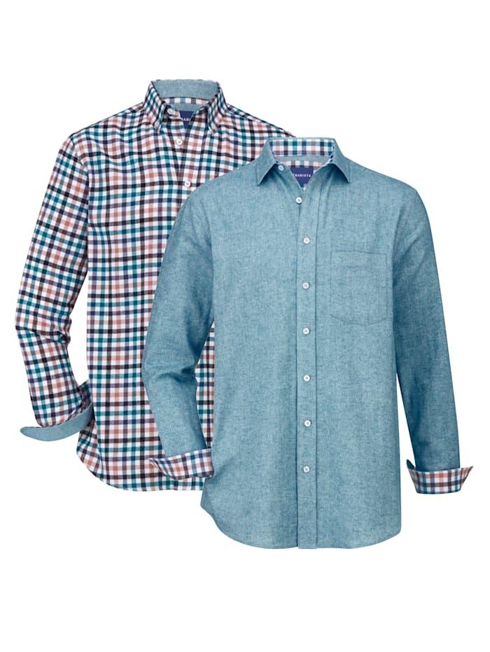 BABISTA Overhemden per 2 stuks 1x effen & 1x geruit, Petrol