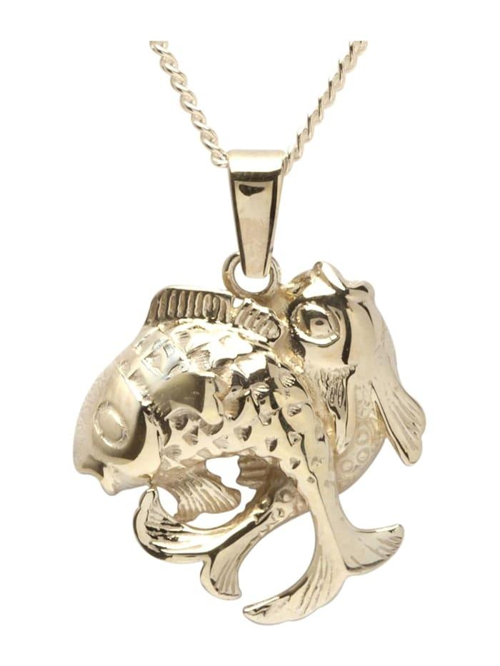 OSTSEE-SCHMUCK Kette mit Anhänger - Tierkreiszeichen Fische - Gold 333/000 - ,, gold