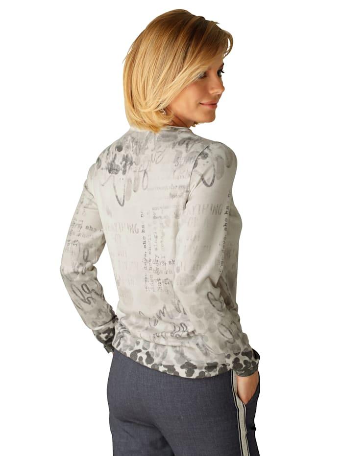Pullover mit dekorativem Druck- und Steinchenbesatz