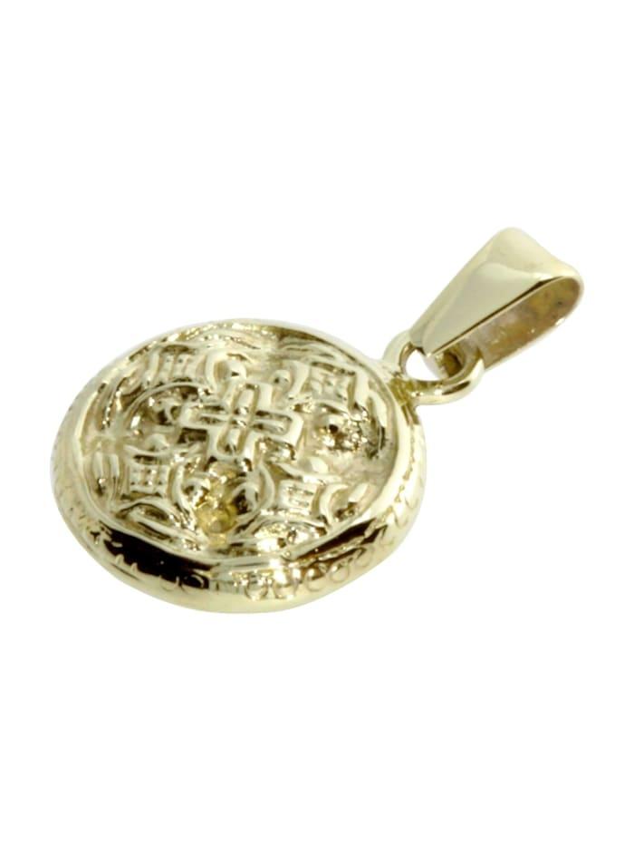 Anhänger - Hiddensee 13 mm rund - Silber 925/000, vergoldet - ,