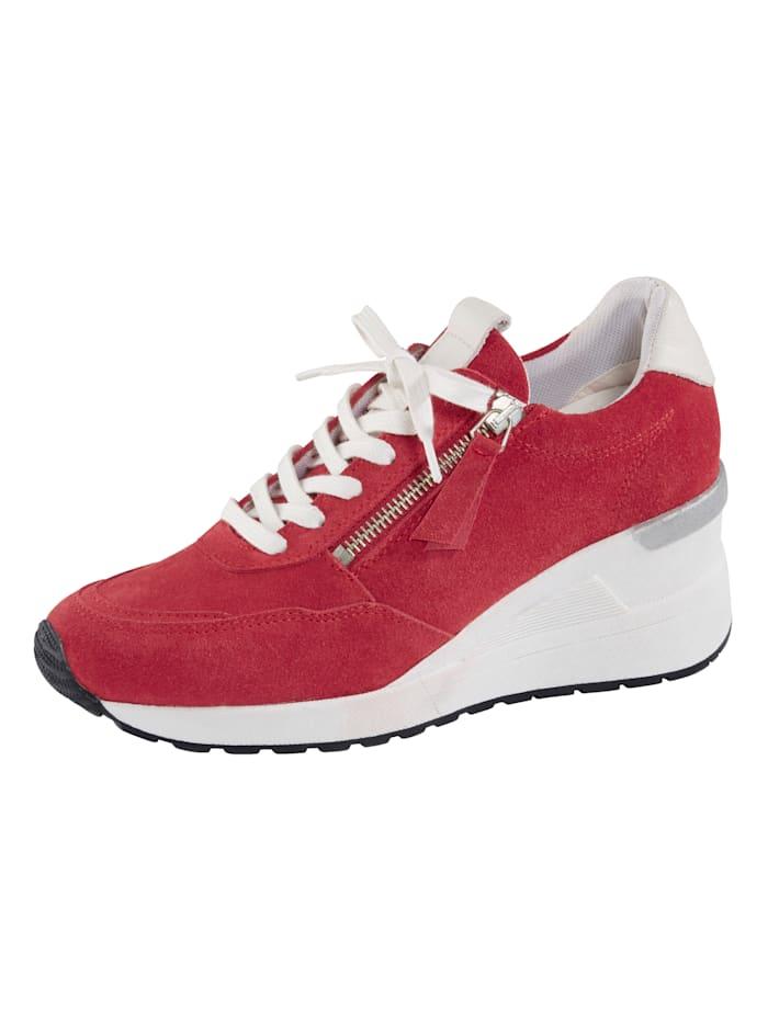 Naturläufer Schnürschuh mit extra hohem Keilabsatz, Rot