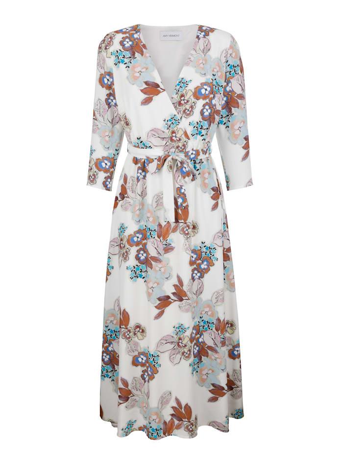 AMY VERMONT Kleid in Wickeloptik, Off-white/Blau
