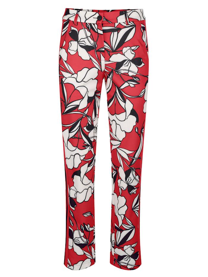 AMY VERMONT Druckhose in floralem Muster, Rot/Weiß/Schwarz