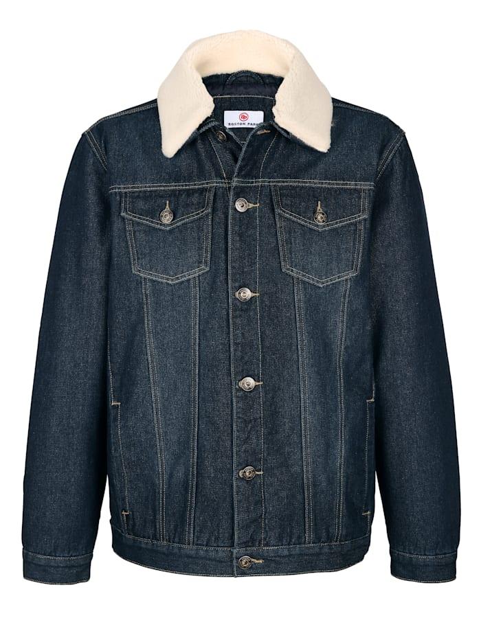 Jeansjacke mit abnehmbarem Webpelzkragen