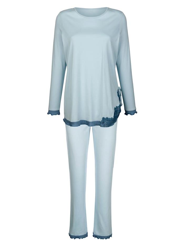 Simone Schlafanzug mit schöner Spitze und Wellensaumabschlüssen, Eisblau/Rauchblau