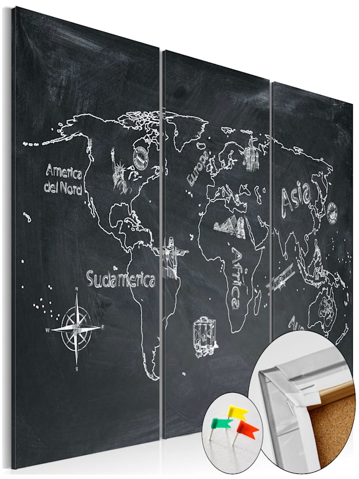 artgeist Pinnwand Bild Geography lesson [Cork Map], schwarz-weiß