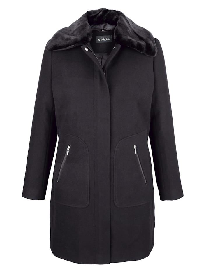 Kabát s límcem z kožešinové imitace, který lze odepnout