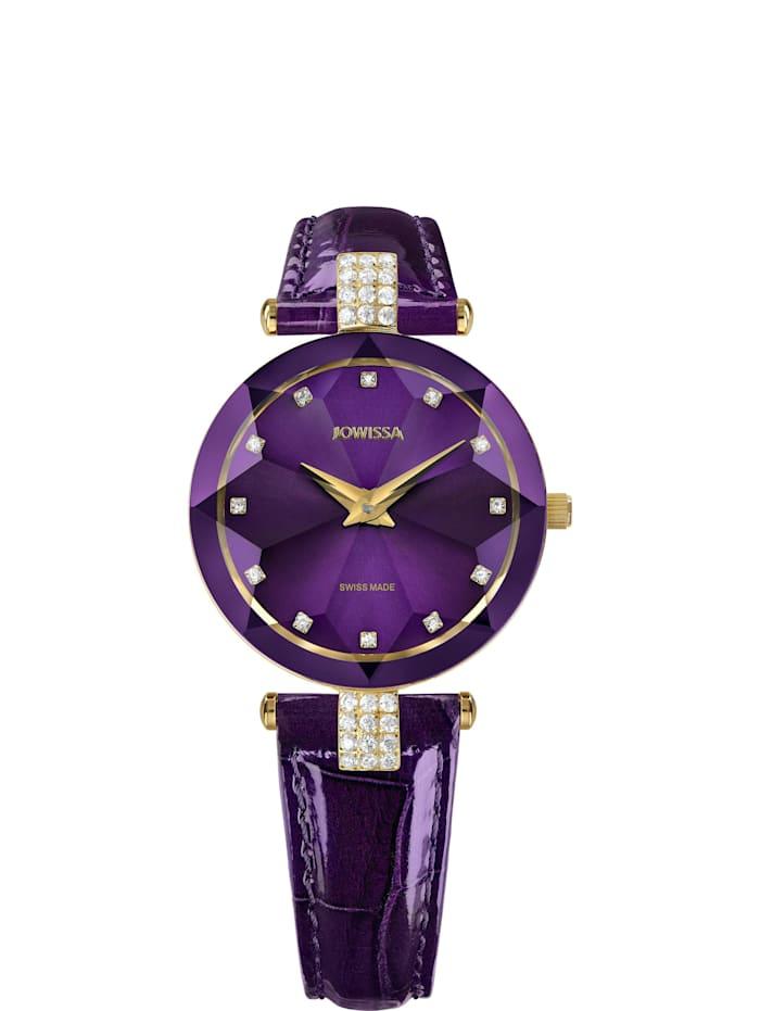 Jowissa Quarzuhr Facet Strass Swiss Ladies Watch, violett
