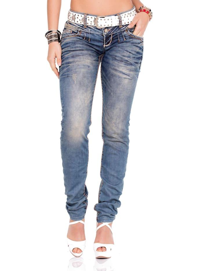 Cipo & Baxx Jeans mit praktischem Gürtel, White