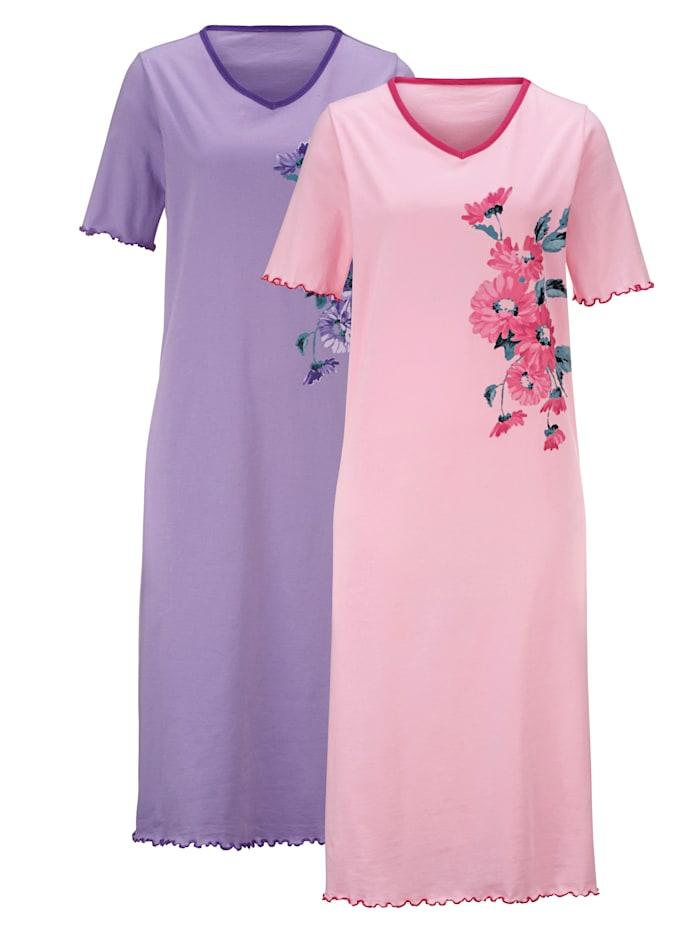 Harmony Chemises de nuit à imprimé fleuri placé, Rose/Parme